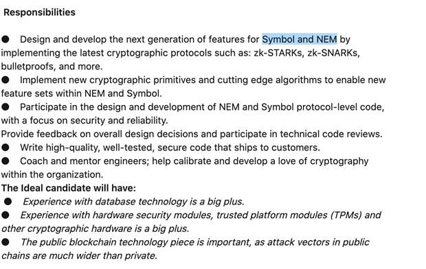 Inzerát NEM na pozici NEM Blockchain Cryptographic Engineer