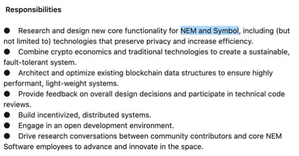 Inzerát NEM na pozici Blockchain Protocol Engineer